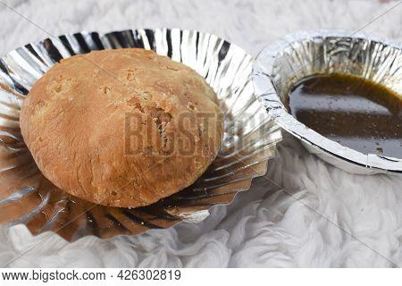 Delicious Popular Indian Teatime Snack Or Breakfast Dish Item Dal Kachori Deep Fried. Top View Kacho