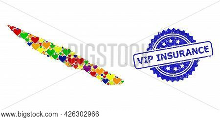 Blue Rosette Distress Stamp With Vip Insurance Caption. Vector Mosaic Lgbt Map Of Sao Jorge Island W