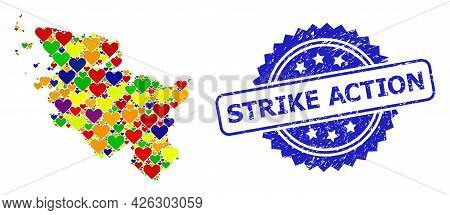 Blue Rosette Grunge Watermark With Strike Action Phrase. Vector Mosaic Lgbt Map Of Schleswig-holstei