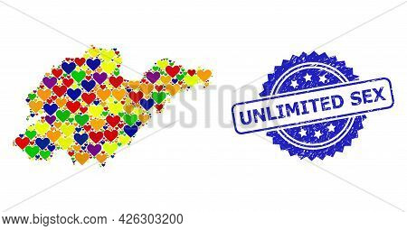 Blue Rosette Scratched Stamp With Unlimited Sex Title. Vector Mosaic Lgbt Map Of Shandong Province F