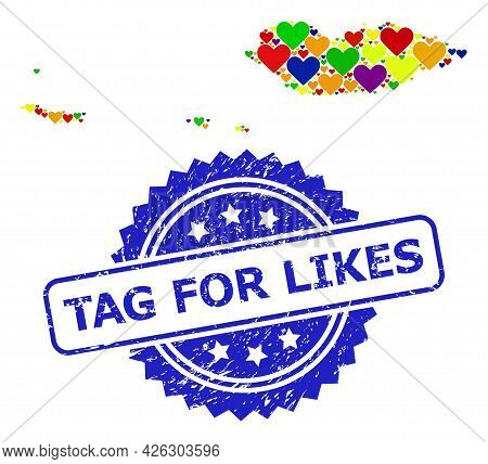 Blue Rosette Scratched Stamp With Tag For Likes Caption. Vector Mosaic Lgbt Map Of Socotra Archipela