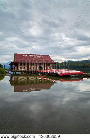 Maligne Lake, Alberta, Canada - August 28, 2018. Maligne Lake Jasper National Park Vertical. Maligne