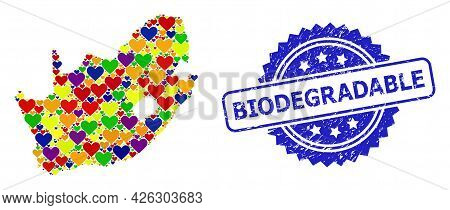 Blue Rosette Scratched Seal Stamp With Biodegradable Text. Vector Mosaic Lgbt Map Of South African R