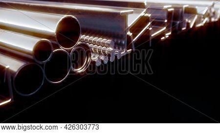 Glowing Rolled Metal And Reinforcing Steel - Cgi Industrial 3d Rendering