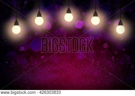 Beautiful Glossy Abstract Background Glitter Lights With Light Bulbs And Falling Snow Flakes Fly Def