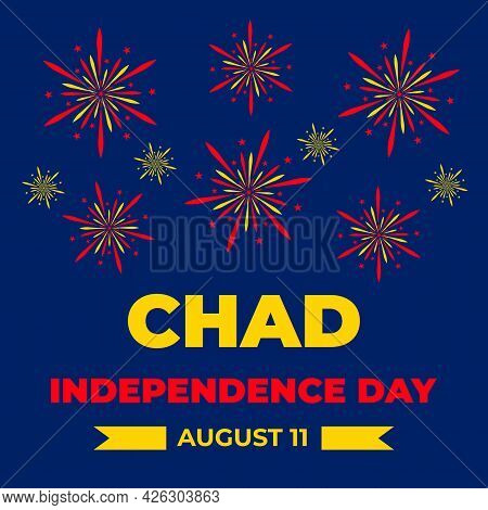 Chad Independence Day Typography Poster. National Holiday Celebrate On August 11. Easy To Edit Vecto