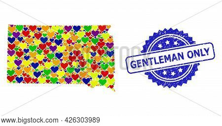 Blue Rosette Distress Seal Stamp With Gentleman Only Phrase. Vector Mosaic Lgbt Map Of South Dakota
