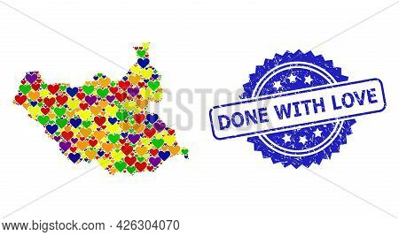 Blue Rosette Scratched Seal Stamp With Done With Love Caption. Vector Mosaic Lgbt Map Of South Sudan