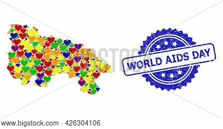 Blue Rosette Distress Watermark With World Aids Day Caption. Vector Mosaic Lgbt Map Of Spain - La Ri