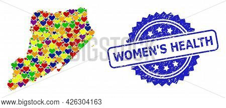 Blue Rosette Scratched Stamp With Women S Health Phrase. Vector Mosaic Lgbt Map Of Staten Island Fro