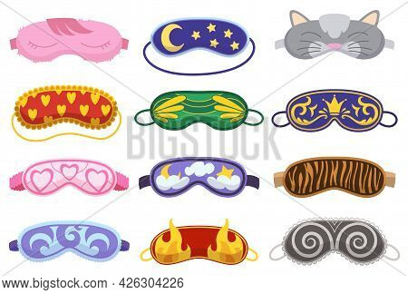 Sleep Masks Different Shapes. Eye Protection Accessories And Prevention Of Healthy Sleep. Blindfold