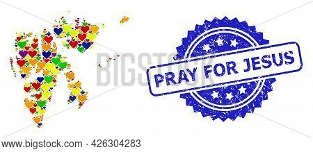 Blue Rosette Distress Stamp With Pray For Jesus Title. Vector Mosaic Lgbt Map Of Svalbard Islands Wi