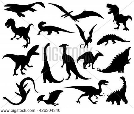 Collection Silhouettes Of Dinosaurs. Dino Monsters Icons. Prehistoric Reptile Monsters. Vector Illus