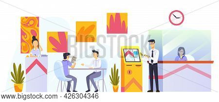 Bank Office Interior Design. Modern Financial Center With Customer, Assistant Offering Personal And