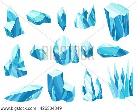 Collection Of Cartoon Ice Crystals. Cold Frozen Blocks Or Ice Mountain, Winter Decoration For Game D