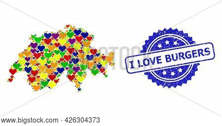 Blue Rosette Rubber Stamp With I Love Burgers Caption. Vector Mosaic Lgbt Map Of Switzerland With Lo