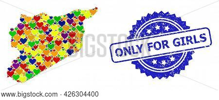 Blue Rosette Grunge Watermark With Only For Girls Phrase. Vector Mosaic Lgbt Map Of Syria With Love
