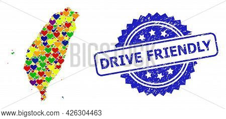 Blue Rosette Textured Seal Stamp With Drive Friendly Text. Vector Mosaic Lgbt Map Of Taiwan With Hea