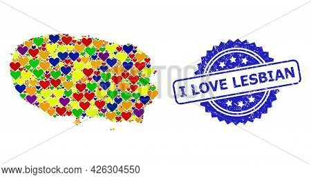 Blue Rosette Scratched Stamp With I Love Lesbian Message. Vector Mosaic Lgbt Map Of Terceira Island