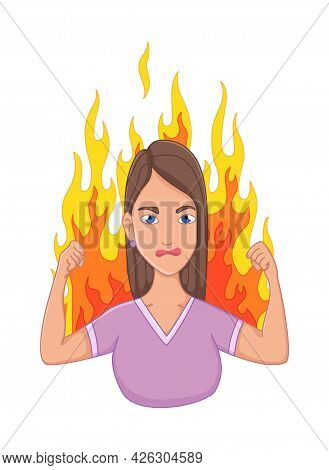 Women With Stress Symptom - Anger. Emotional Or Mental Health Problem, Stress. Cartoon Character Con