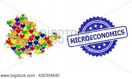Blue Rosette Textured Watermark With Microeconomics Caption. Vector Mosaic Lgbt Map Of Thuringia Sta