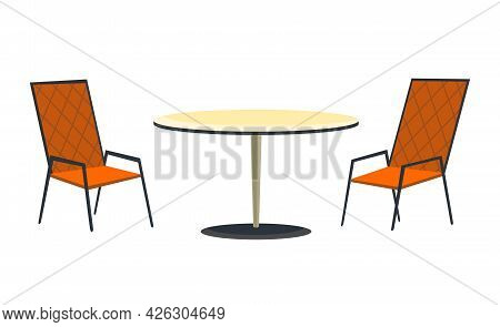 Patio Area. Cafe And Garden Furniture Table And Chairs Isolated On A White Background. Summer Outdoo