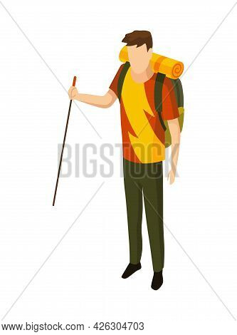 Isometric Camping. Colored Symbol Of Hiking. Icon With Tool Attributes Or Element Of Camp Equipment.