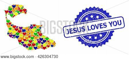 Blue Rosette Scratched Stamp With Jesus Loves You Title. Vector Mosaic Lgbt Map Of Tiran Island With