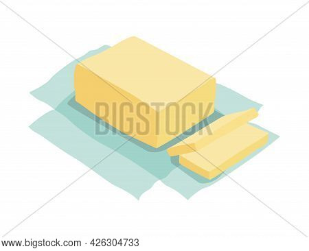 Unpacked Piece Of Butter. Ingredient And Cookware For Making Dough, Cookie Or Croissant. Flat Cartoo