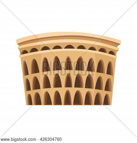 Ancient Rome Coliseum. Famous Italy Historic Building. Hand Drawn Landmark Illustration. Decorative