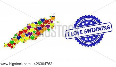 Blue Rosette Distress Seal With I Love Swimming Message. Vector Mosaic Lgbt Map Of Tobago Island Wit