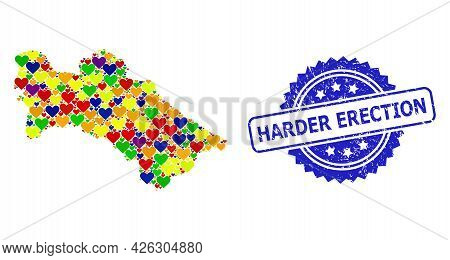 Blue Rosette Scratched Seal Imprint With Harder Erection Caption. Vector Mosaic Lgbt Map Of Turkmeni