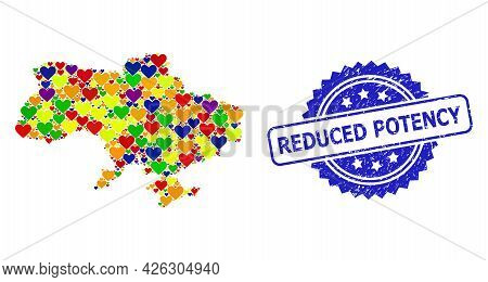 Blue Rosette Grunge Watermark With Reduced Potency Text. Vector Mosaic Lgbt Map Of Ukraine With Hear