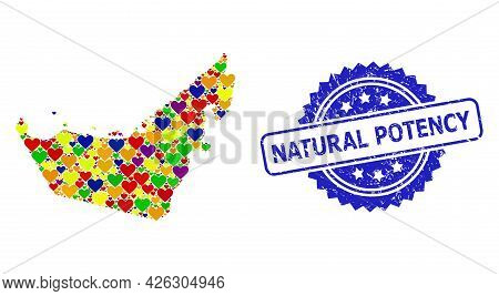Blue Rosette Grunge Seal Stamp With Natural Potency Text. Vector Mosaic Lgbt Map Of United Arab Emir