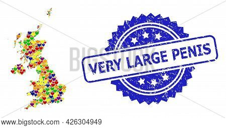 Blue Rosette Grunge Seal Imprint With Very Large Penis Caption. Vector Mosaic Lgbt Map Of United Kin