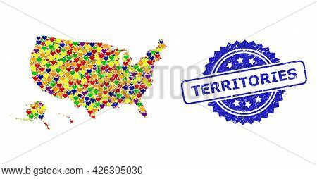 Blue Rosette Rubber Seal Imprint With Territories Caption. Vector Mosaic Lgbt Map Of Usa Territories