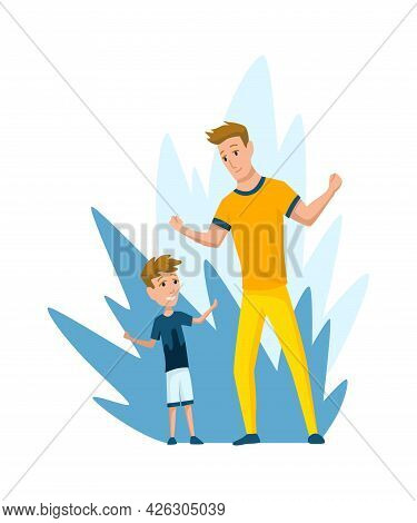 Father Spend Time With Son. Dad And Son Happy Family Concept. Fatherhood Flat Cartoon Vector Illustr