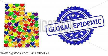 Blue Rosette Scratched Stamp With Global Epidemic Text. Vector Mosaic Lgbt Map Of Utah State With Lo