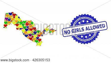 Blue Rosette Rubber Seal With No Girls Allowed Title. Vector Mosaic Lgbt Map Of Uzbekistan From Hear