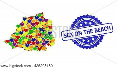 Blue Rosette Scratched Seal With Sex On The Beach Title. Vector Mosaic Lgbt Map Of Vatican With Love
