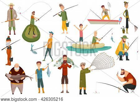Group Fishermans Fishing With Fish. Set Of Fishing People With Equipment For Cutting Fish. Vacation