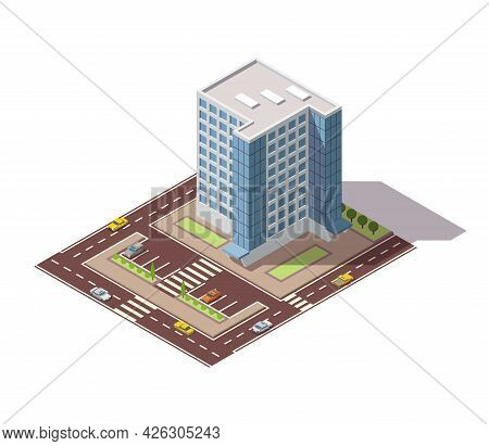 Offices Isometric. Town Apartment Building With Street And Cars For City Map Creation. Infographic E