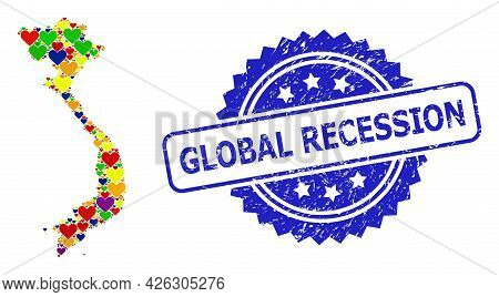 Blue Rosette Rubber Stamp With Global Recession Text. Vector Mosaic Lgbt Map Of Vietnam With Lovely