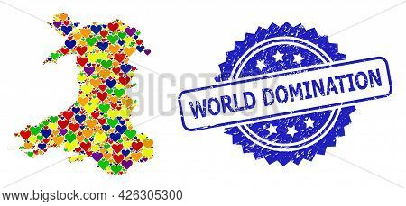 Blue Rosette Scratched Stamp With World Domination Phrase. Vector Mosaic Lgbt Map Of Wales With Hear