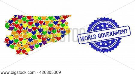 Blue Rosette Scratched Watermark With World Government Caption. Vector Mosaic Lgbt Map Of Warmia-mas