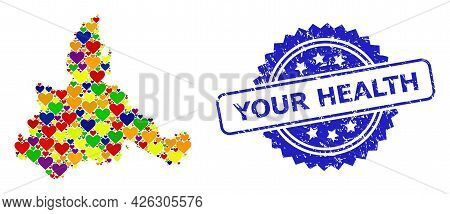 Blue Rosette Grunge Seal Stamp With Your Health Phrase. Vector Mosaic Lgbt Map Of Zaragoza Province
