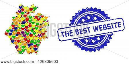Blue Rosette Distress Watermark With The Best Website Title. Vector Mosaic Lgbt Map Of Zhejiang Prov