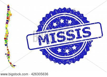 Blue Rosette Textured Seal Stamp With Missis Text. Vector Mosaic Lgbt Map Of Chile With Love Hearts.