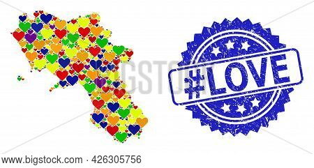 Blue Rosette Grunge Stamp With Hashtag Love Caption. Vector Mosaic Lgbt Map Of Campania Region With
