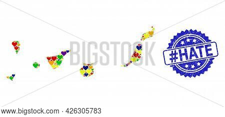 Blue Rosette Grunge Seal Imprint With Hashtag Hate Text. Vector Mosaic Lgbt Map Of Canary Islands Of
